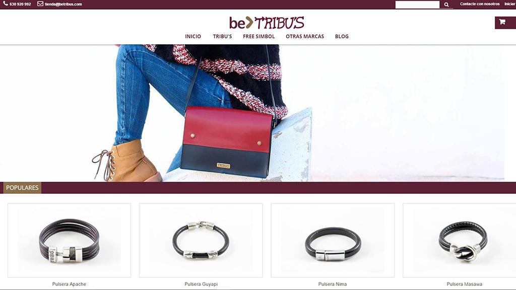Design de magasin en ligne de la fabrique de maroquinerie les Tribus et le cabinet-conseil de communication