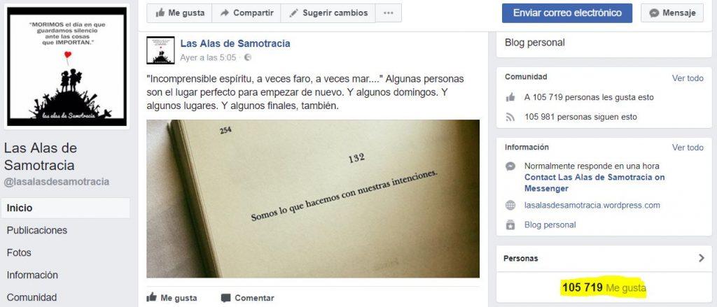 Entrevista Alas de Samotracia sobre éxito en la gestión de páginas de facebook sin ánimo de lucro