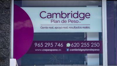 Instalación e impresión de vinilos en El Campello para Cambridge Weight Plan