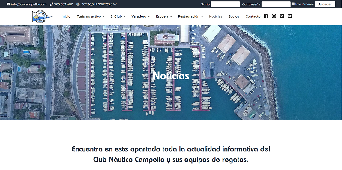 Disseny web per a Club Nàutic del Campello