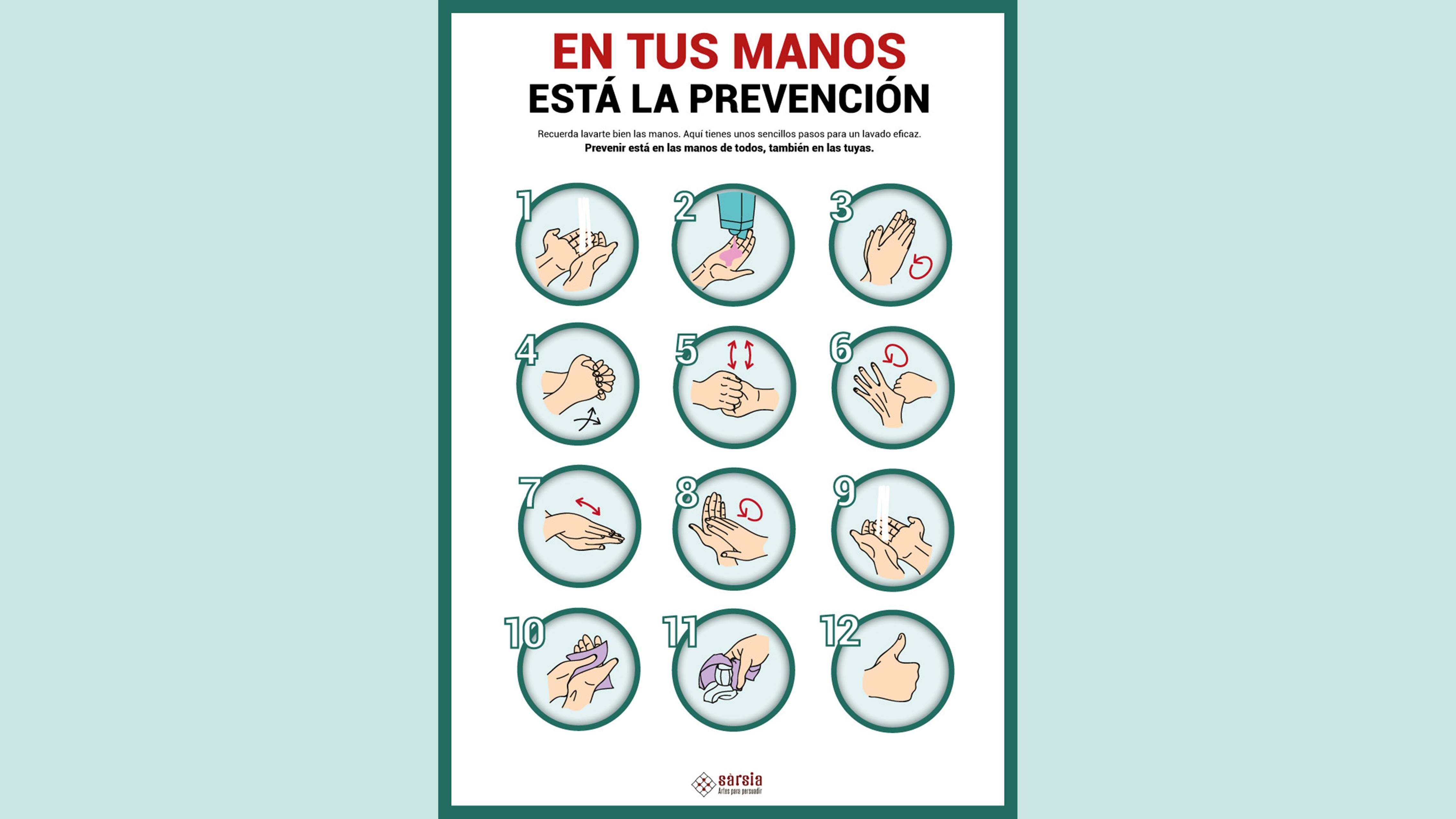 cartel cómo lavar las manos