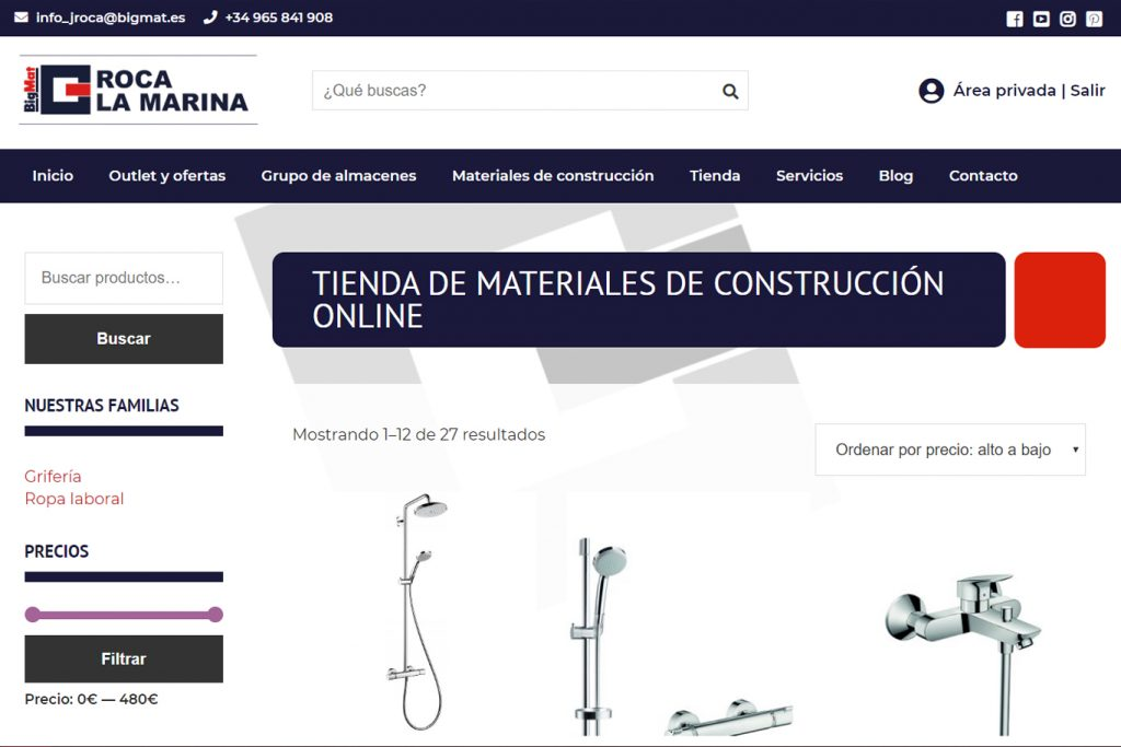 Diseño de tienda online para BigMat Roca La Marina - Sàrsia