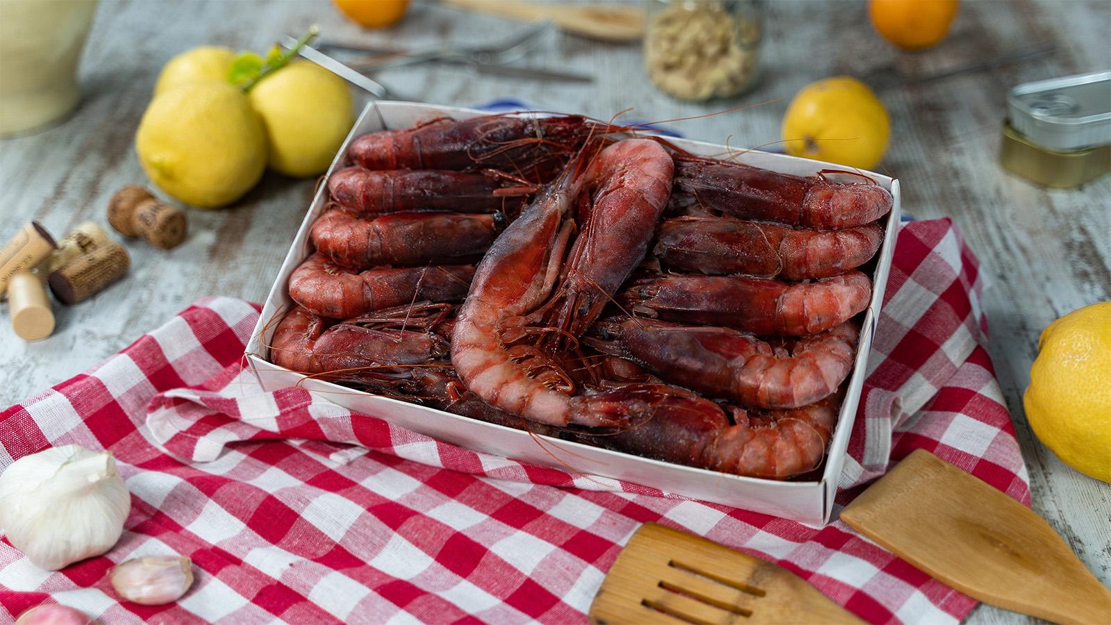 Diseño de catálogo de mariscos con fotografía de producto congelado