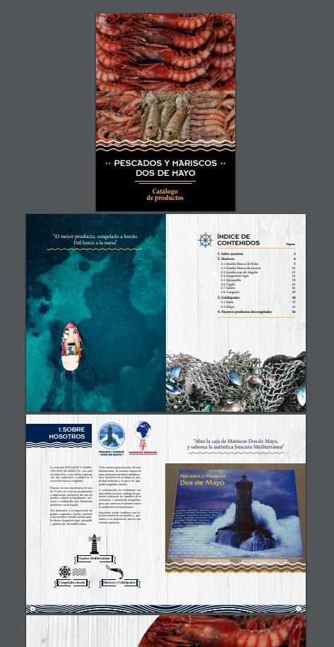 Catálogo de mariscos maquetado con fotografía original