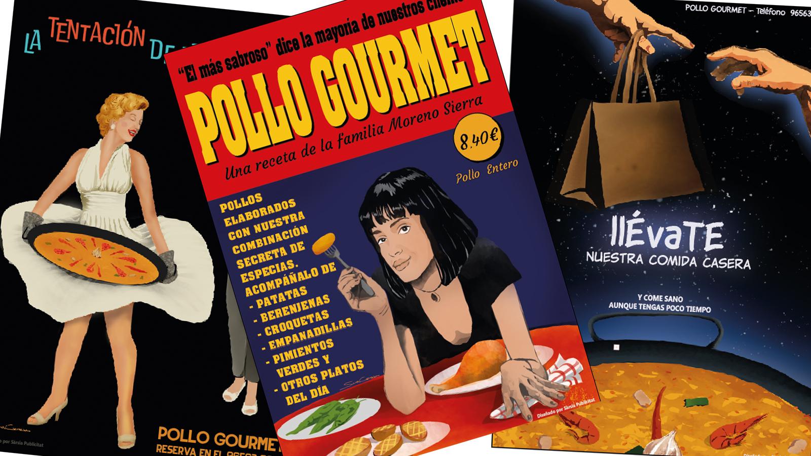 Carteles publicitarios para Pollo Gourmet, cuando la publicidad  en la fachada tiene un valor decorativo