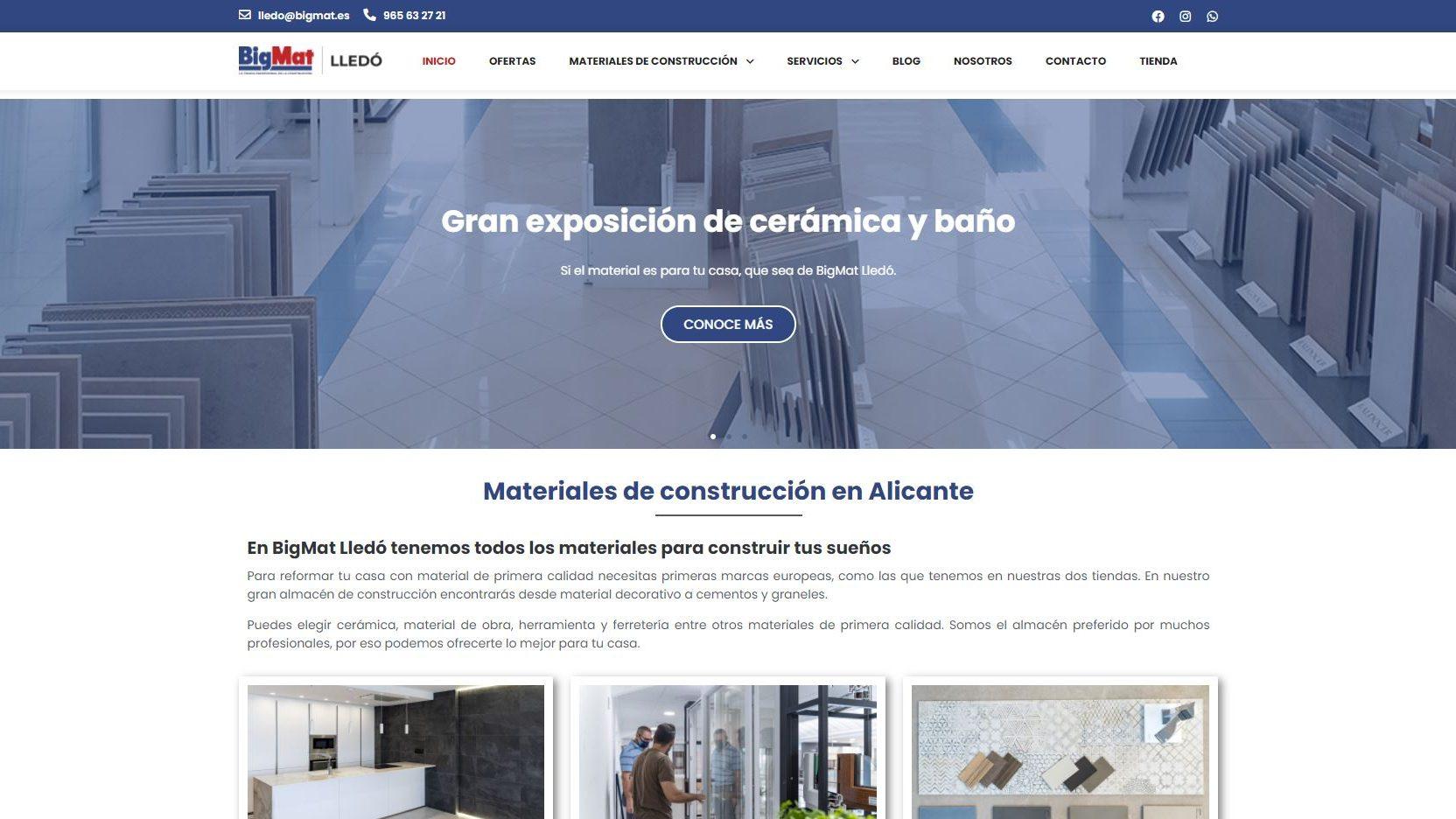 Diseño web para almacén de construcción BigMat Lledó